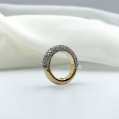 18k yellow and white gold 5 row pave set diamond dress ring.