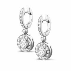 Dangle halo diamond earrings
