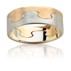 Two tone link wedding band