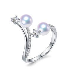 Twin pearl diamond dress ring