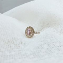 Amazing Double halo Pink Sapphire dress/engagement ring. ONE ONLY!