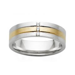 Two tone mens diamond dress/wedding ring