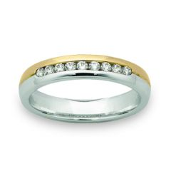 Ladies channel set ring, Two tone or single colour