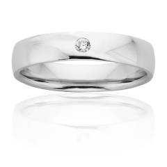 Classic rub over set wedding ring
