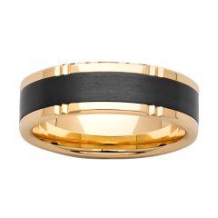 Mens 9K yellow gold and Zirconium ring, 7mm