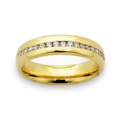 Classic unisex channel set diamond wedding band