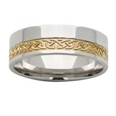 Two tone Celtic patterned ring