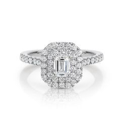 GIA certified emerald 0.50 ct F/SI2 set in 18K W/G double halo ring. TCW 1.10+ cts
