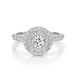 GIA certified round 0.50 ct F/SI2 set in 18K W/G double halo ring. TCW 1.10+ cts