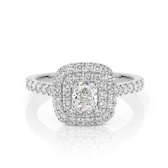 GIA certified cushion 0.50 ct F/SI2 set in 18K W/G double halo ring. TCW 1.10+ cts