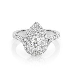 GIA certified pear 0.50 ct F/SI2 set in 18K W/G double halo ring. TCW 1.10+ cts