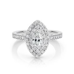 GIA certified marquise 0.50 ct F/SI2 set in 18K W/G double halo ring. TCW 1.10+ cts