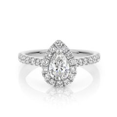 GIA certified pear 0.70 ct F/SI2 set in 18K W/G halo ring. TCW 1.20+ cts