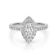 GIA certified marquise 0.70 ct F/SI2 set in 18K W/G halo ring. TCW 1.20+ cts