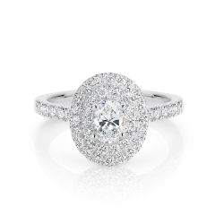 GIA certified oval 0.40 ct F/SI2 set in 18K W/G double halo ring. TCW 1.00+ cts
