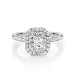GIA certified radiant 0.50 ct F/SI2 set in 18K W/G double halo ring. TCW 1.10+ cts