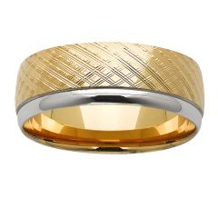 Mens textured two tone ring