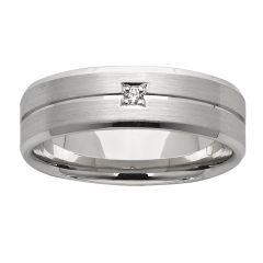 Diamond set mens dress/wedding ring