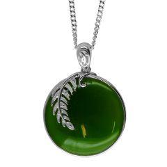 Flower Jade Pendant in Sterling Silver