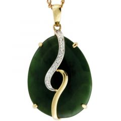 Pear Greenstone pendant with diamonds in 9K yellow gold