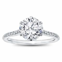 Classic 6 claw pave set engagement ring. SETTING ONLY