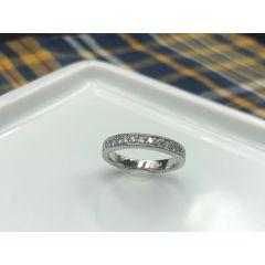 Platinum grain set diamond ring with Milgrain