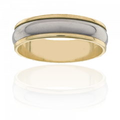 Mens Titanium and 18K Y/G two tone ring, 6mm wide.