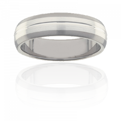 Mens Titanium low dome two tone ring, 6mm wide