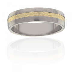 Mens Titanium and 18K Y/G two tone ring, flat radius 6mm wide