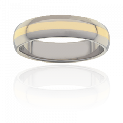 Mens Titanium and 18K Y/G low dome two tone ring, 6mm wide