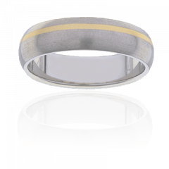 Mens Titanium and 18K Y/G two tone ring, 6mm wide