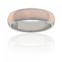 Titanium and 18K rose gold mens ring, 6mm wide